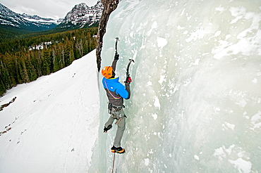 Elijah Weber ice climbing a route called The Fat One which is rated WI-3 and located at the Unnamed Wall in Hyalite Canyon near the city of Bozeman in southern Montana