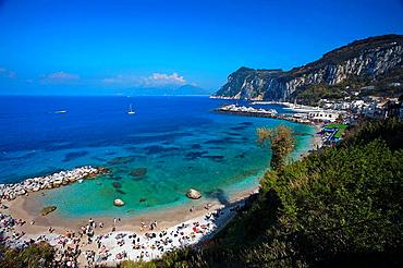 Beach, Island of Capri, Bay of Naples, Campania, Italy
