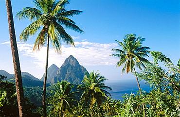 Gros Piton mountain on the left (2619 feet) and Petit Piton mountain on the right (2461 feet), Saint Lucia