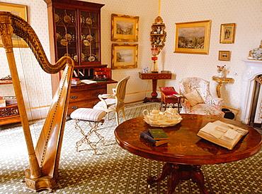 Living-room of Muckross House (19th century neo-Tudor mansion designed by William Burn), Killarney National Park, Ireland