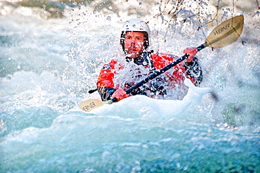 Mike Krupski kayaking the Malad River which is rated Class 4 and located near the city of Hagerman in southern Idaho