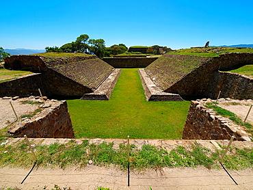 Ball game court. Monte Alban. Zapotec archeological site. Oaxaca. Mexico.