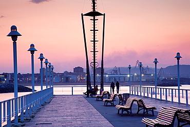 Spain, Asturias Region, Asturias Province, Gijon, Cimadevilla Old Town, pier at the Puerto Deportivo port, evening