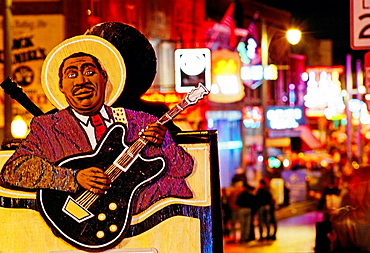 Neon signs on Beale Street, Memphis, Tennessee, USA