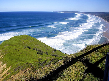 Tallow beach panoramic seen from Cape Byron, New South Wales, Australia