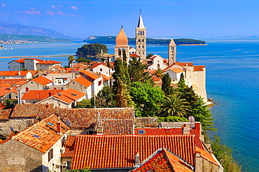 View from St John Church tower over the medieval roof tops of Rab town  Rab Island, Craotia