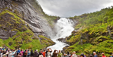Waterfalls seen from Flam Railway route, Norway