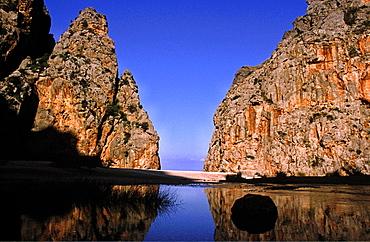 Torrent of Pareis, Sa Calobra, Escorca, Sierra de Tramuntana Majorca, Balearic Islands Spain