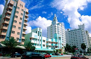 Collins Avenue, Art deco area in Miami Beach, Miami, Florida, USA