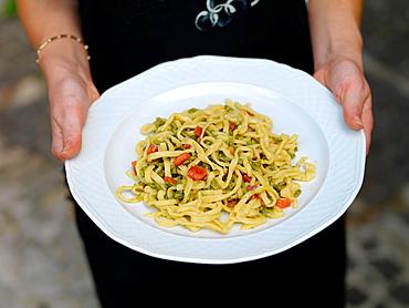 Handmade strangozzi pasta.