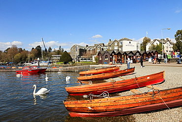 Bowness on Wndermere, Cumbria, England, UK, Europe  Wooden rowing boats for hire on Windermere lakeside in the Lake District National Park