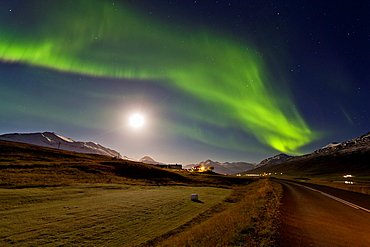 Moon light with Aurora borealis or Northern Lights, Northern Iceland