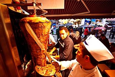 Kebab, Spice Bazaar, or Egyptian market, Micir Carsisi, Istanbul, Turkey Asia