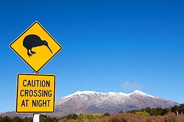 Kiwi signal and view of Mount Ruapehu, Tongariro National Park, North Island, New Zealand