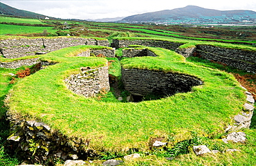 Leacanbuaile early Mediaeval stone fort fortified settlement near Cahirciveen, Co  Kerry, Ireland  Interior clochan houses