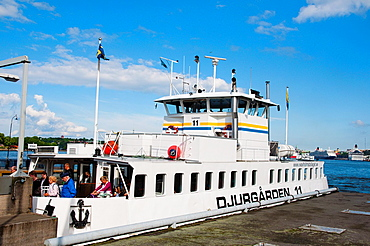 Ferry stop in Slussen area Sodermalm district Stockholm Sweden Europe