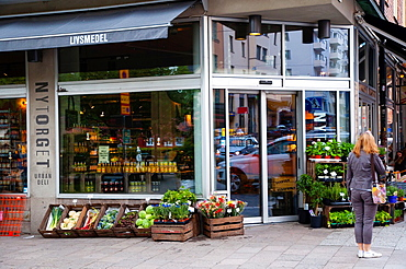 Nytorget deli and ecological grocery store exterior SoFo the South of Folkungagatan area Sodermalm district Stockholm Sweden Europe