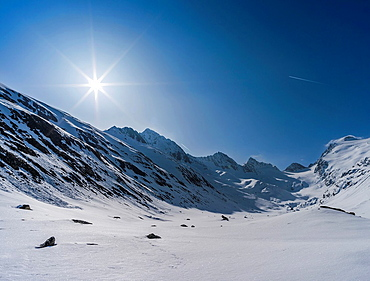 Valley Rotmoostal in Oetztal Alps during winter with ice and snow near Gurgl, Tyrol Europe, Central Europe, Austria, Tyrol, March