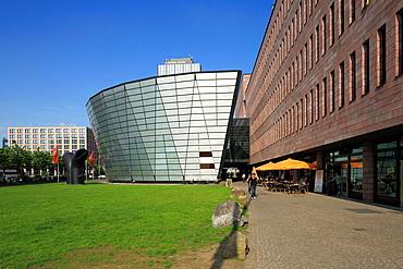D-Dortmund, Ruhr area, Westphalia, North Rhine-Westphalia, NRW, municipal and state library, architect Mario Botta, behind commercial towers, IWO high-rise, RWE Tower, Sparkasse Dortmund, penny bank