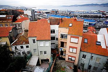 View of the city of Vigo, the Vigo ria and Cies islands, Pontevedra, Spain