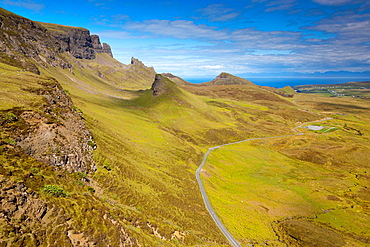 The Quiraing, a landslip on the eastern face of Meall na Suiramach, the northernmost summit of the Trotternish Ridge on the Isle of Skye, Scotland, United Kingdom, Europe