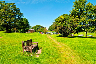 English suburban town park open space, UK