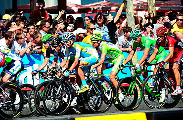 Bicycle racers on final stage of the Tour de France,Paris,France,Europe