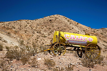 Barstow, California - A water wagon at Calico Ghost Town, an 1880s silver mining town in the Mojave Desert that has been restored as a tourist attraction