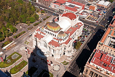 America. Mexico. Mexico DF. Palacio de Bellas Artes Fine Arts Palace and Avenida Lazaro Cardenas, aerial view from the Torre Latinoamericana