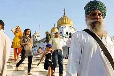 Gurudwara Bangla Sahib, the most prominent Sikh gurdwara, or Sikh house of worship, in Delhi, India, Asia