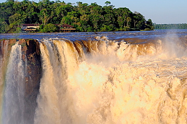 Argentina. Misiones. Iguazu Falls. The Union and Garganta del Diablo Devil´s Throat waterfall. UNESCO World Heritage