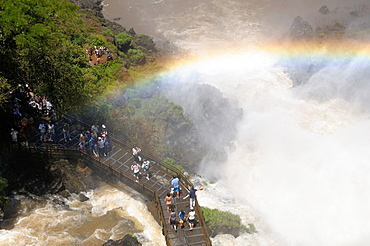 Argentina. Misiones. Iguazu Falls. Lower footbridge of the Bossetti waterfall. UNESCO World Heritage