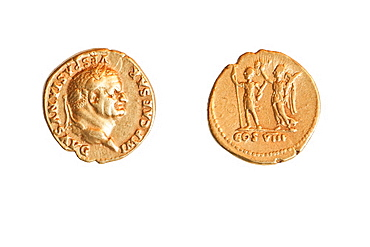 The Emperor and Nike  Roman gold coin depicting emperor Vespasian 69-79 CE private collection