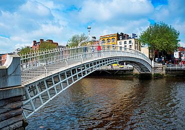 Haapenny Bridge over the Liffey river, Dublin, Republic of Ireland