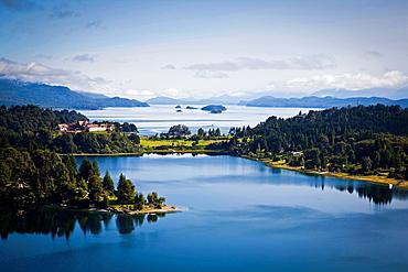 View over Nahuel Huapi lake and Llao Llao hotel near Bariloche, Lake district, Patagonia, Argentina