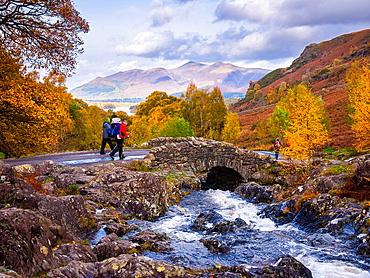 Autumn colour at Ashness Bridge in the Lake District near Keswick, Cumbria, England, United Kingdom