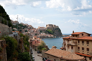 Italy, Calabria, Scilla  Seaside town north of Reggio Calabria and the ferry to Sicily  The Ruffo Castle, the fortress in the background was built by the Dukes of Calabria and overlooks the beach