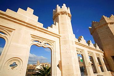 Sagat Cor Church from the terrace of the Lonja, The Llotja, XV century Palma Mallorca Balearic Islands Spain