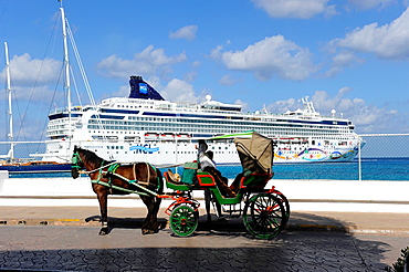 Carriage Rids at Cruise Ship Cozumel Mexico Caribbean Port