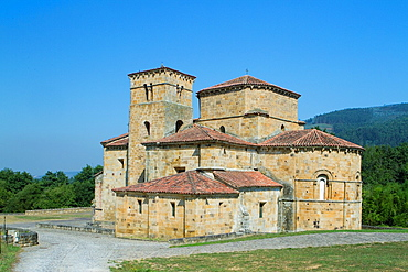 Overview of Santa Cruz collegiate, in Socobio, Castaneda  It is considered as one of the most important romanesque churches of Cantabria and declarated National Monument  Spain