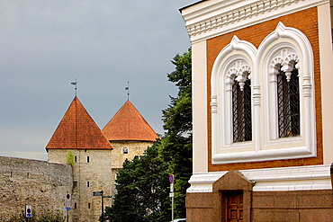 Detail of Alexander Nevsky cathedral and old city walls,Tallinn,Estonia