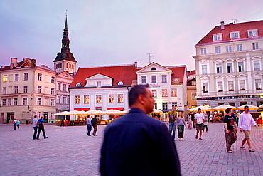 Town Hall Square,at left belltower of St Nicholas church,Tallinn,Estonia
