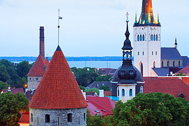 Detail of skyline,at right belltower of St Olav, s Church,Tallinn, Estonia