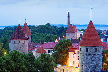skyline,Towers of Old city walls, Tallinn, Estonia