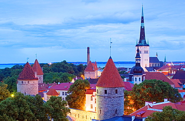 elevated view with St Olaf¥s Church from Toompea district,Tallinn, Estonia