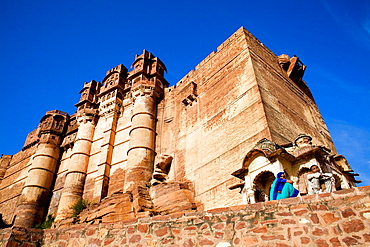 Mehrangarh Fort,Low angle view ,Jodhpur, Rajasthan, India