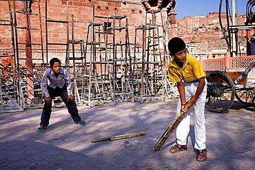 Children playing baseball,Jodhpur, Rajasthan, India