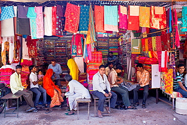 Vendor and customer in Clothing store,Sardar Market,Jodhpur, Rajasthan, India