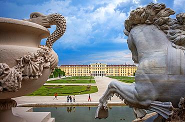 Schonbrunn Palace and gardens from Neptune fountain, Vienna, Austria, Europe