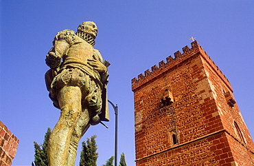 Miguel de Cervantes Saavedra Monument and Don Juan de Austria fortified tower, Alcazar de San Juan, Ciudad Real province, Castilla La Mancha, the route of Don Quixote, Spain